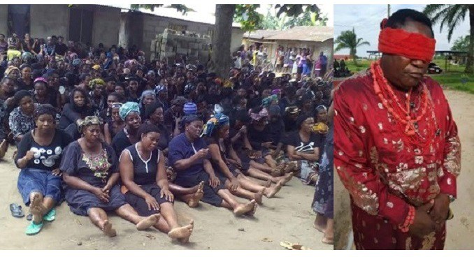 Women from Yeghe community in Rivers State on May 25, 2016 protest the harassment and arrest of their paramount ruler by the Nigerian Army | Photo: Scan News