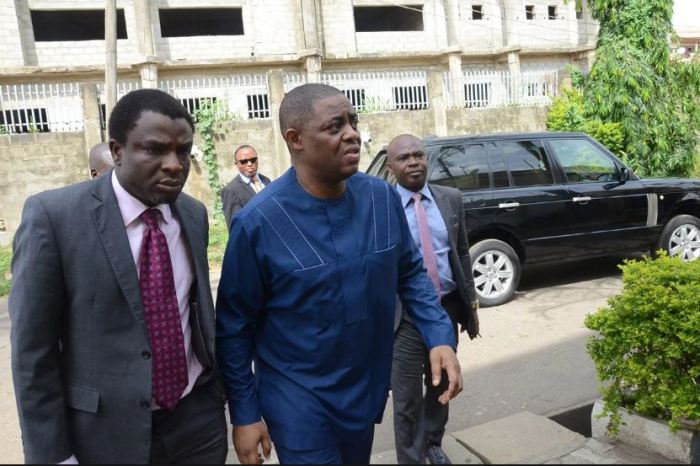 Chief Femi Fani-Kayode arrives EFCC headquarters in Abuja on Monday, May 9, 2016 | Twitter