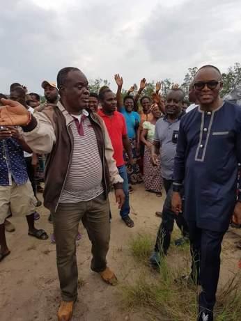 Dr. Ibe Kachikwu, Nigeria's minister of state for petroleum on Thursday, June 16, visited Kurutie, Okerenkoko, for an on-the-spot assessment of the on-going construction of the Nigerian Maritime University.