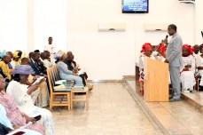 Nigeria's speaker, Mr. Yakabu Dogara worships at Aso Rock Chapel in Abuja on Fathers' Day on Sunday, June 19, 2016 | Gov't Photo