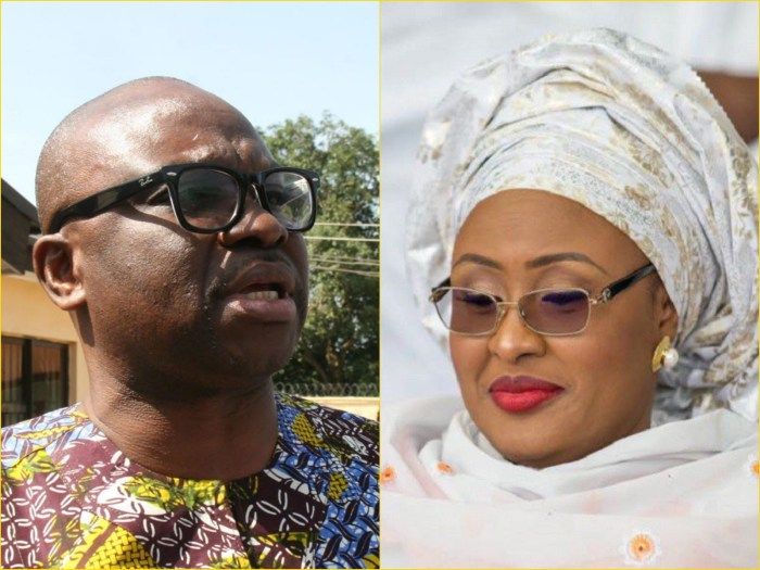 L: Governor Ayo Fayose of Ekiti State; R: Nigeria's first lady, Aisha Buhari