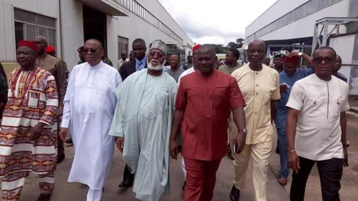 General Abdulsalami Abubakar (rtd) on a facility tour of the factory being shown round by Dr. Innocent Chukwuma,