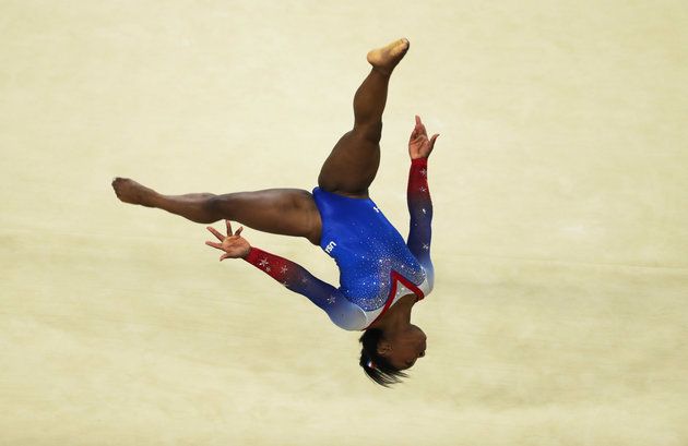 RIO DE JANEIRO, BRAZIL - AUGUST 16: Simone Biles of the United States competes during the Women's Floor Final at Rio Olympic Arena on August 16, 2016 in Rio de Janeiro, Brazil. | Ian MacNicol/Getty Images