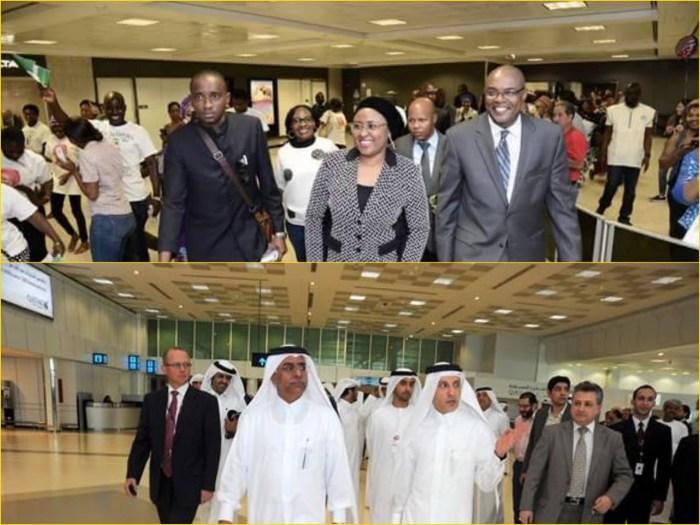 """Top: Aisha Buhari at the """"Washington DC Airport"""" according to SaharaReporters, Bottom: Qatari royals at Doha International Airport"""
