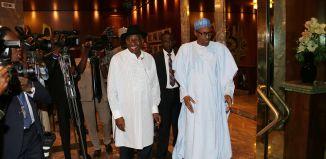 President Buhari receives former President Goodluck Jonathan at the Presidential Villa, Aso Rock, Abuja on August 3, 2016 | Sunday Aghaeze/State House Photo
