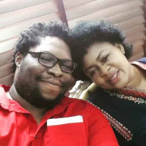 Maxwell 'Boa' Etoromi  with his mother, Princess Stella Oduah