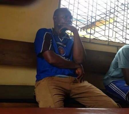 Joachim Iroko, the man who named his dog after President Buhari is pictured in court