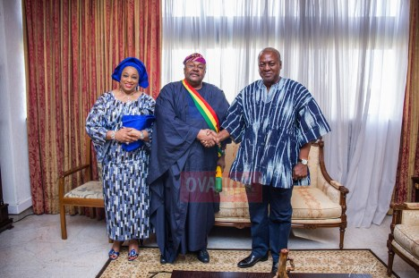 Dr. Mike Adenuga Jr pays a courtesy visit to the home of President John Dramani Mahama and his wife Lady Lordina on Sunday afternoon in Accra... Amb. Phanice Mogaka was with them.   Ovation