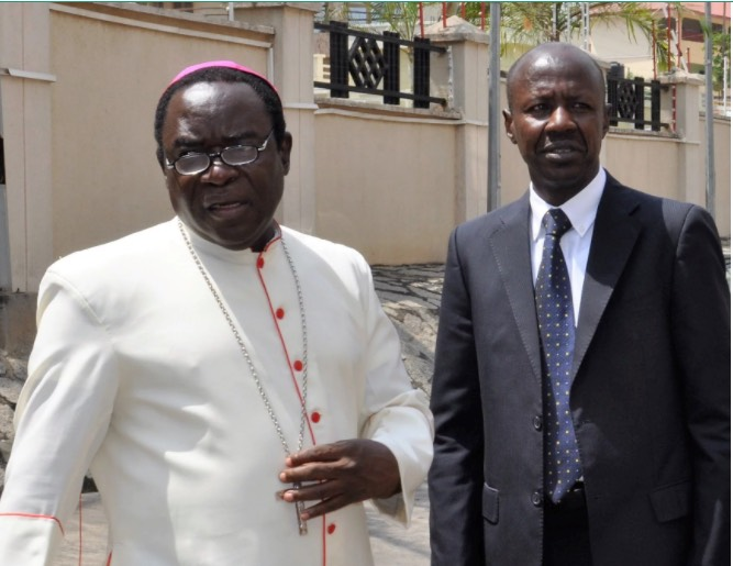 Bishop Matthew Kukah and Ibrahim Magu, the chairman of the EFCC pictured during the cleric's visit to the commission's headquarters in Abuja, on Oct 31, 2016