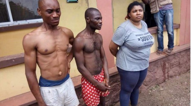 Oluchi Tochukwu (right) and the two suspects | Police Handout
