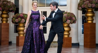 George Stephanopoulos of ABC News and Alexandra Wentworth were among the medial personalities at the White House for the State Dinner.   Getty