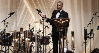 President Barack Obama offers a toast to Italian Prime Minister Matteo Renzi.   Getty