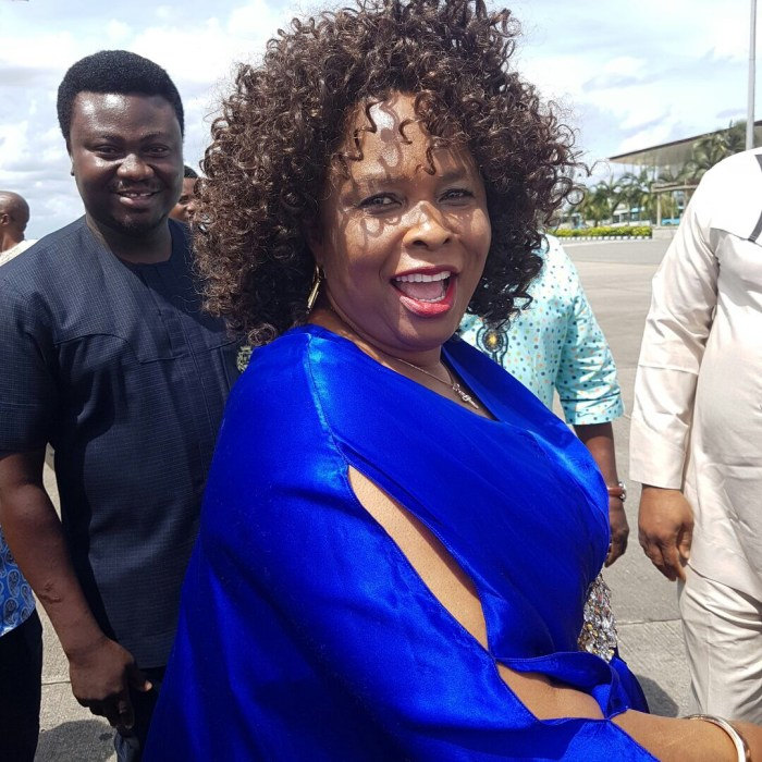 Dame Patience Jonathan pictured at Port Harcourt International Airport on Sunday, October 2, 2016 | The Trent