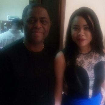 Chief Fani-Kayode pictured with wife, Precious Chikwendu at the premises of the federal high court in Abuja