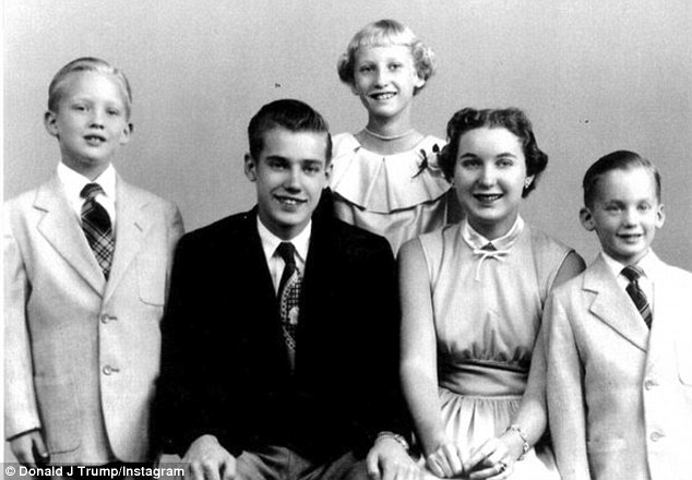 Donald Trump (left, in a family photo with his mother and siblings). His brother Freddy's (center, in the dark suit). | Donald Trump/Instagram