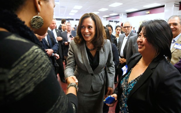 Kamala Harris (middle) pictured at a campaign event