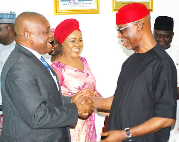 Former Governor of Abia state, Dr Orji Uzor Kalu; Women Leader, South East, All Progresive Congress (APC), Mrs Sally Chinedu and the National Chairman of APC, Chief John Odigie-Oyegun, during the visit of Dr Orji Uzo Kalu to APC Secretariat in Abuja on Wednesday (16/11/16). Dr Orji Uzo Kalu officially joined APC in Abuja. | Hogan Bassey/ICE/NAN