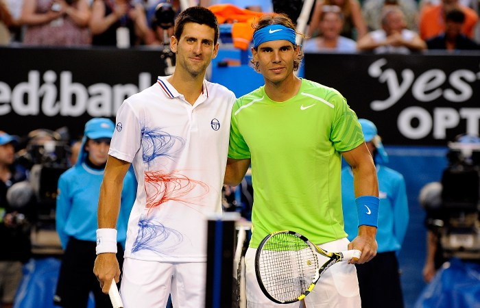 Rafael Nadal and Novak Djokovic played the longest match in a Grand Slam final ever at the 2012 Australian Open in which Djokovic defeated Nadal in five sets spanning five hours and 53 minutes