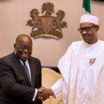 Ghana's President Nana Akufo-Addo greets President Muhammadu Buhari of Nigeria