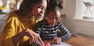 students study girl homework boy student mother child homework