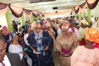 Former Governor of Ondo State, Dr Olusegun Mimiko and his Wife, Olukemi, during the thanksgiving.