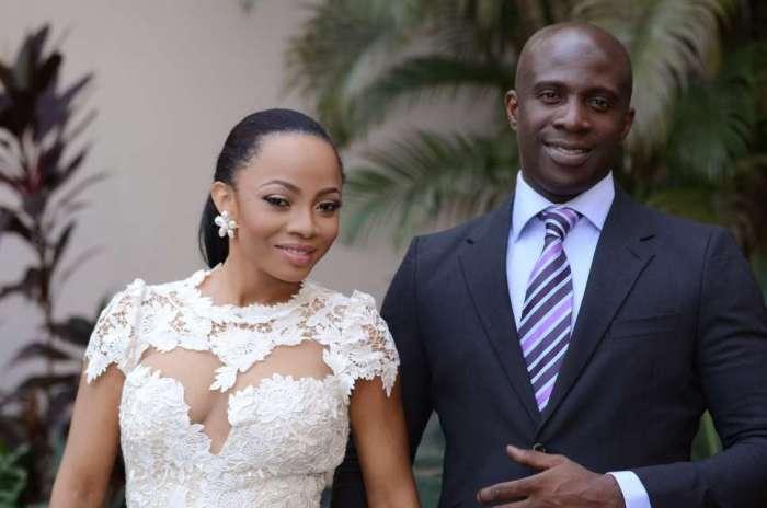 Toke Makinwa and Maje Ayida on their wedding day
