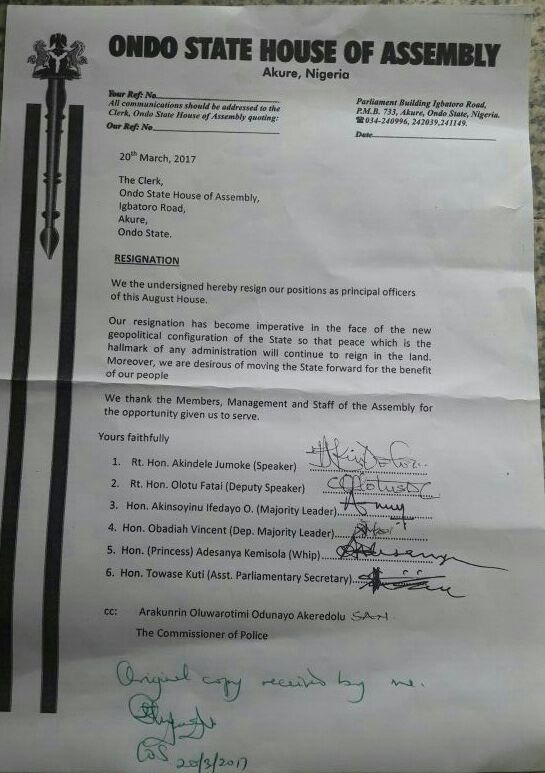Ondo House of Assembly principal officers resign March 20, 2017