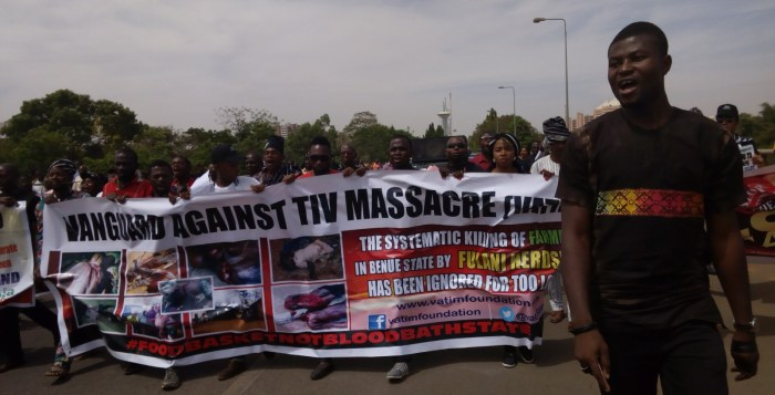 Fulani Herdsmen A Benue group, Vanguard Against Tiv Massacre staged a protest at the National Assembly on Thursday, March 16, 2017 against killing of Tiv people by Fulani herdsmen