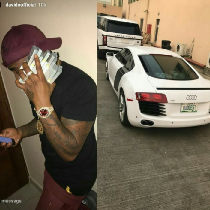 Nigerian music star, Davido, showing us off his new luxury car and a stock of dollars a