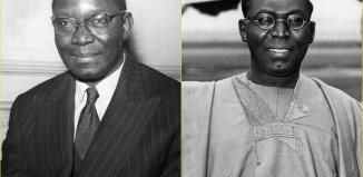 politics unification brothers clash Dr. Nnamdi Azikiwe and Chief Obafemi Awolowo (right) Southern