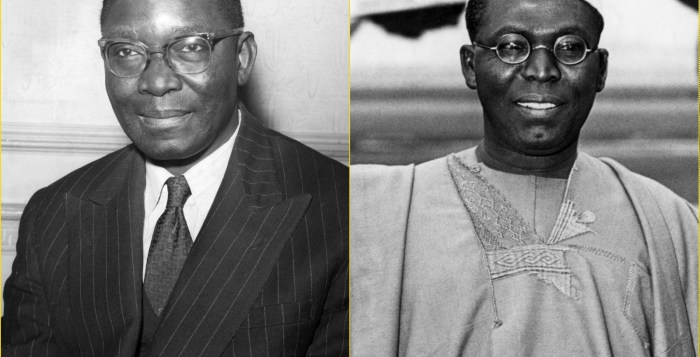 unification brothers clash Dr. Nnamdi Azikiwe and Chief Obafemi Awolowo (right) Southern