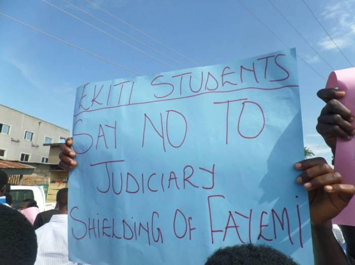 Ekiti students stage protest against Kayode Fayemi