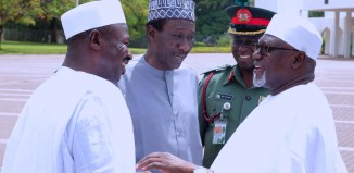 square L-R; Acting Chairman EFCC, Ibrahim Magu, National Security Adviser Major General, Babagana Monguno (Rtd), Commander of Brigade of Guards Brig Gen MS Yusuf and Director General DSS, Lawan Daura in a chat after Juma'at prayer at the Aso Villa in Abuja on April 21, 2017.   Sunday Aghaeze