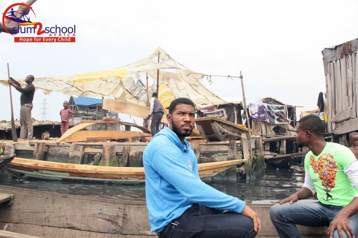 Otto Orondaam visiting the slum community of Makoko, Lagos | Slum2School Photo