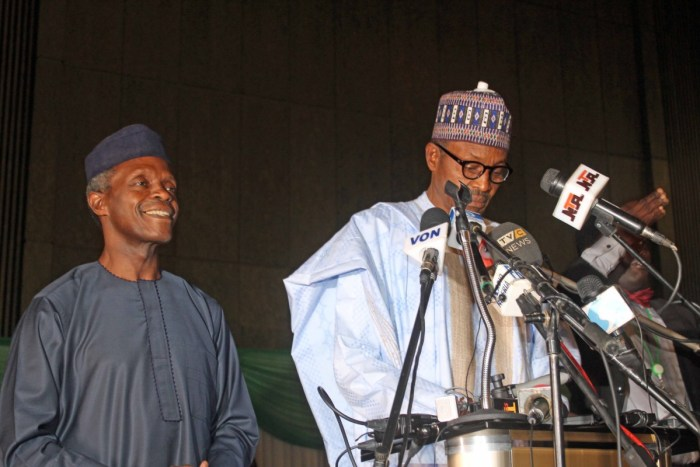 President & VP Elect Muhammadu Buhari and Yemi Osinbajo winners of the 2015 Nigerian Presidential Elections at INEC certification Abuja Nigeria on April 1, 2015