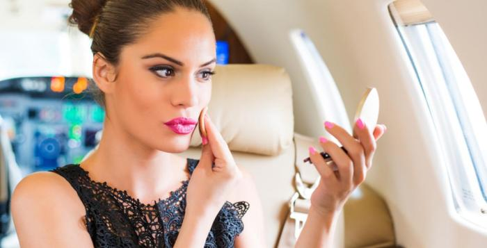 make up airport airplane travel woman