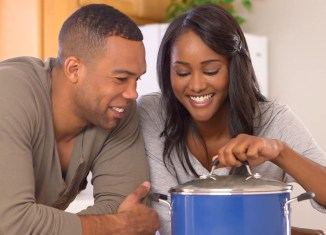 women couple love cooking kitchen