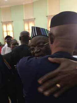 Dr. Mimiko and Governor Ortom share a hug on Wed, Jan 16, 2018 in Makurdi