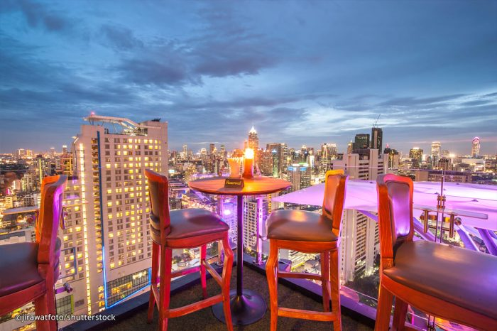 Romantic rooftop restaurant in Bangkok