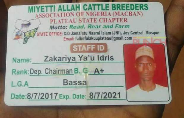 Plateau: Miyetti Allah Identity Card Spotted At Scene Of Fulani Herdsmen Killing [LOOK]