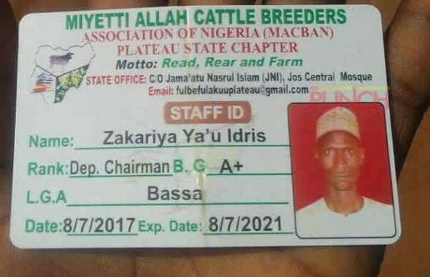Plateau: Miyetti Allah Identity Card Spotted At Scene Of Fulani Herdsmen Killing [LOOK]