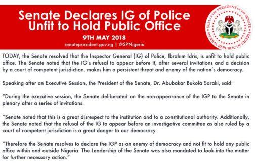 Nigerian Senate Declares Police Boss, Ibrahim Idris, Unfit To Hold Public Office