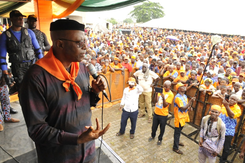 Former Governor Olusegun Mimiko rejoins Labour Party admist fanfare in Ondo Town on Thursday, June 14, 2018