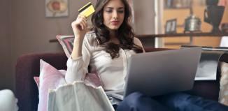gifts designer online shopping credit card woman laptop shopper