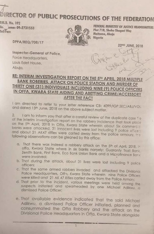 'No Connection Between Saraki And Offa Robberies': Justice Minister Writes Police Inspector General [DOCUMENT]