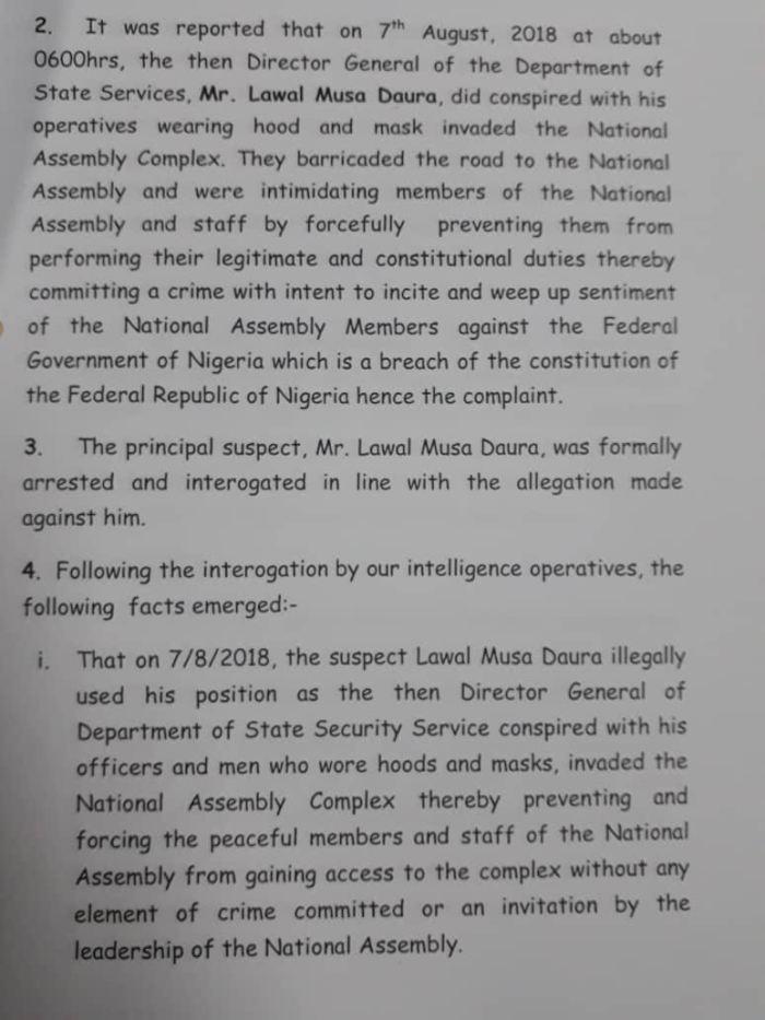 IGP Police Letter to Yemi Osinbajo National Assembly Blockade APC