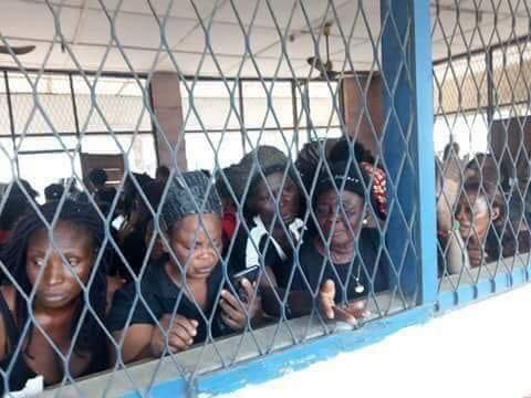 Some of the 144 detained pro-Biafra women in Owerri, Imo State
