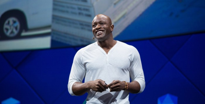 me Archibong, Facebook director of product partnerships, talks at company's F8 Developer Conference Tuesday