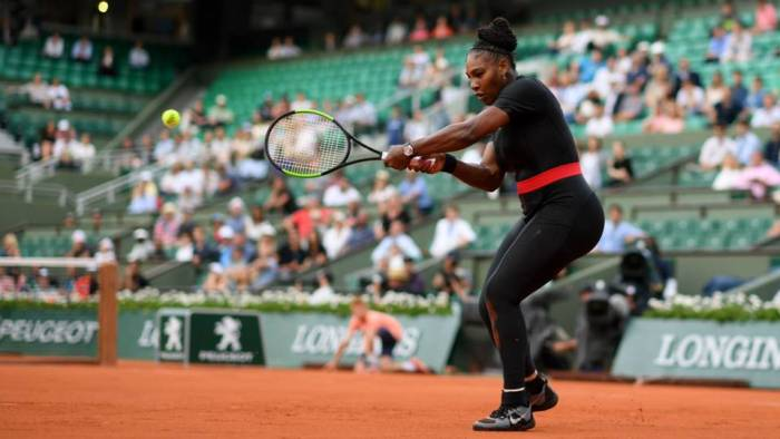 Serena Williams in her cat suit at the French Open in June 2018 | Getty Images