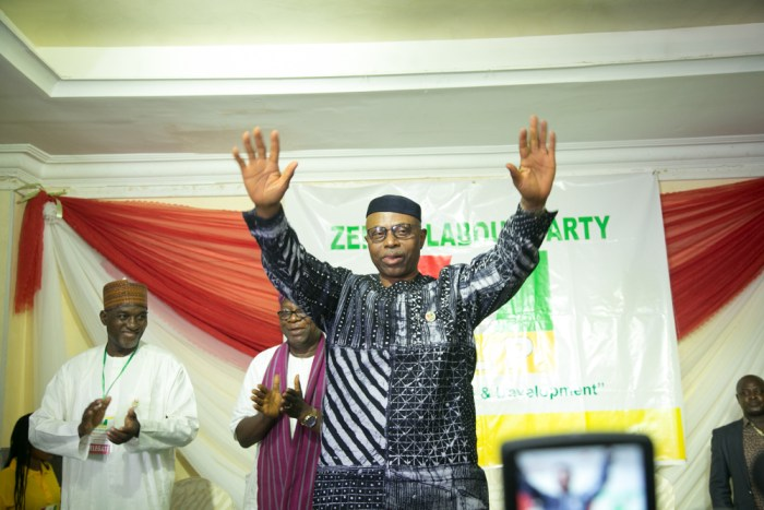 Dr. Olusegun Mimiko, the presidential candidate of the Zenith Labour Party (2nd right) and Dan Nwanyanwu, the national chairman of the ZLB (3rd right) at the national convention of the party in Abuja on October 7, 2018